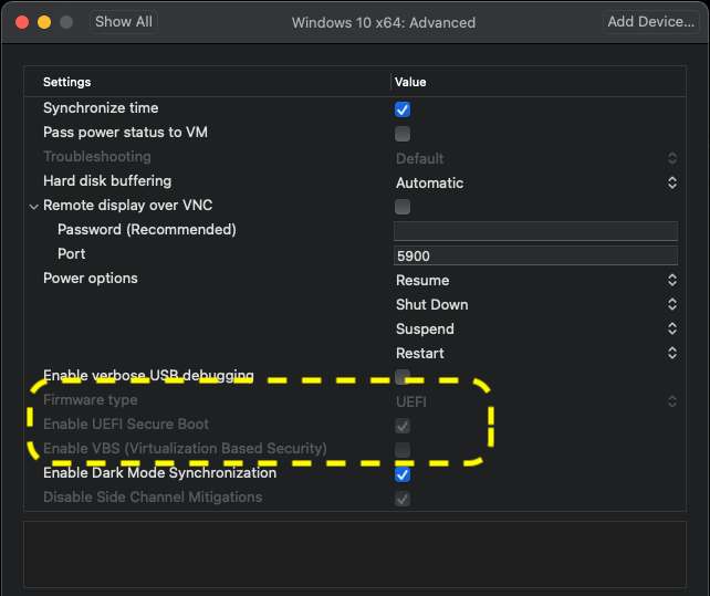 VMware Fusion change VM UEFI settings